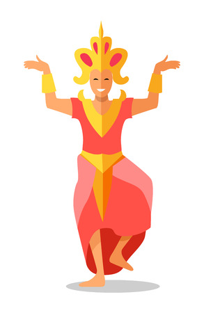 Thailand dancer icon. Smiling woman in thai national dress with gold crown on head dancing flat vector illustration isolated on white background. Thai traditional drama theater. Asian folk attraction