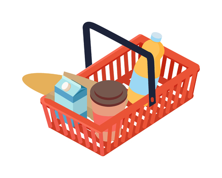 Shopping basket with daily products vector illustration. Make purchases in grocery store flat concept isolated on white background. Food store and supermarket equipment for goods transportation.