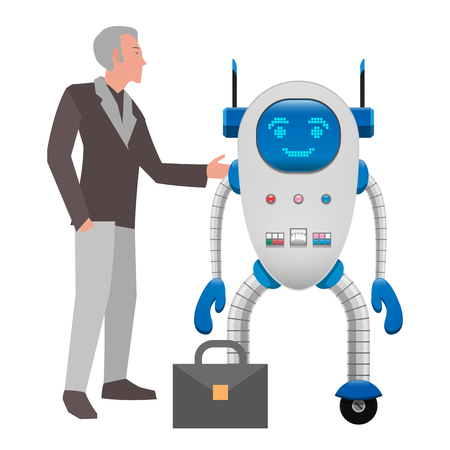 Human and robot cooperation isolated on white background. Grey-haired Man in suit and electronic robot on wheels with buttons and detectors stand near briefcase. Futuristic scene vector illustration.