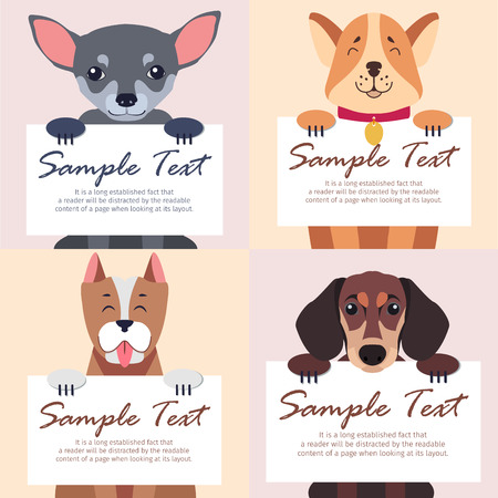 Four purebred dogs holds white cards on beige background. Vector illustration of gray Chihuahua, happy Akita-inu, Staffordshire Terrier with red tongue and brown Dachshund. Sheet of paper in paws.