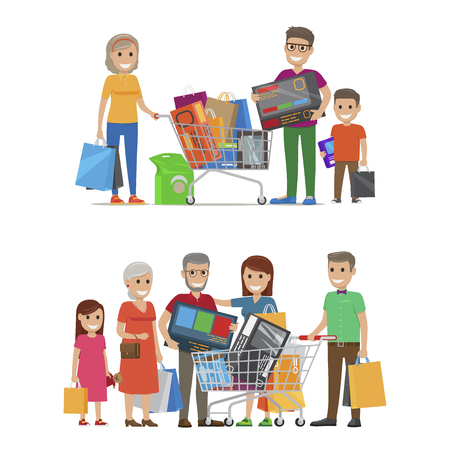 Groups of smiling people standing with bags and packs. Vector illustration of son with father and grandmother holding bought items and girl with parents and grandparents near trolley with goods Illustration