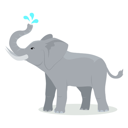 Elephant cartoon character. Elephant spray water with trunk flat vector isolated on white. African fauna. Elephant icon. Wild animal illustration for zoo ad, nature concept, children book illustrating