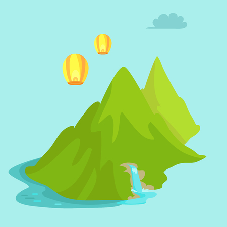 Maokong mountain in Taiwan and chinese lights flying in the sky. Scenery landscape vector illustration in flat style design Waterfall in green mountains near China in flat design cartoon style Çizim