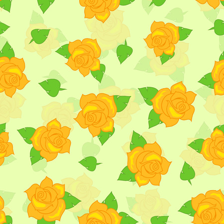 Yellow rose with green leaves seamless pattern. Illustration of isolated big blossoms in cartoon style walllpaper, wrapping paper. Fashion decoration endless texture. Floral embellishment. Vector