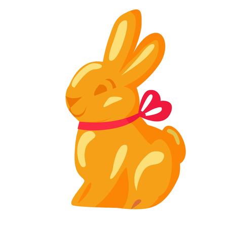 Orange chocolate bunny with pink ribbon drawn icon on white background. Vector illustration of sweet gifts on easter. Nice sweetness in form of holiday mascot. Festive emblem in cartoon style. Stock Vector - 119676653