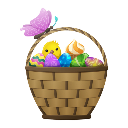 Wicker basket with Easter eggs and cake, spring chiken and purple butterfly on handle isolated on white background. Easter symbols vector illustration. Colorful composition of holiday attributes. Illustration
