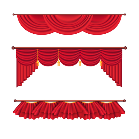 Drape and lambrequins of heavy red fabric vector set isolated on white background. Classic wide curtains in victorian style on cornice illustration for window dressing and interior design concepts