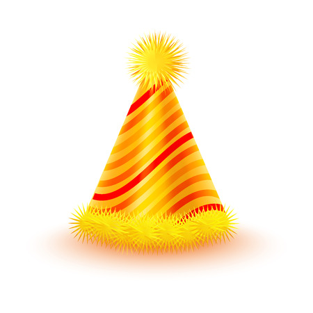 Brightly decorated with fluffy pompons and striped pattern party hat. Yellow paper conical cap for festive costumes isolated vector illustration. Birthday or New Year party dressing accessory icon