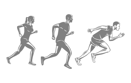Set of runners silhouettes. Men and woman run race. Sportsmen competition, achievement victory concept. Sport lifestyle colourless vector illustration. Motion movement in cartoon style flat design