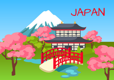Japan touristic concept with national symbols. Japanese pagoda in cherry garden with pond and Fuji Mount on background flat vector.  Asian cultural, architectural and nature attractions illustration