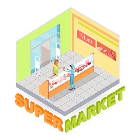 Supermarket meat department interior in isometric projection. Customers choosing goods in grocery store trading hall vector illustration. Daily products shopping concept isolated on white background