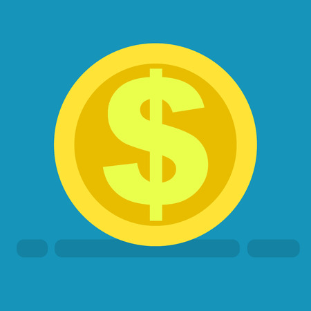 Big dollar symbol on gold coin icon on blue background. Piece of money with currency logo of buck in cartoon style. Vector illustration of riches and american gold money web banner flat design. Stock Illustratie