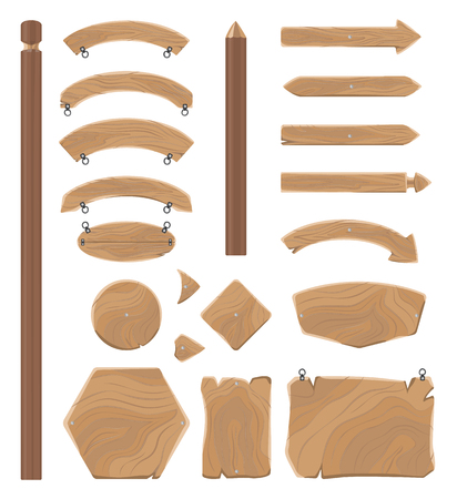 Wooden boards of geometrical and arrow shapes for signs with small chains to hang isolated vector illustrations set on white background. Vettoriali