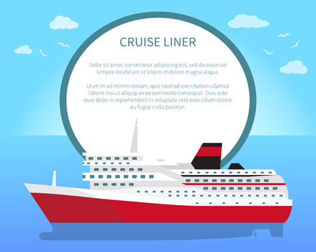 Spacious luxury cruise liner big red steamer on water surface with place for text in round banner. Seagoing ships vector illustrations