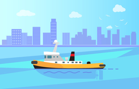 Small steamer with black chimney on calm water surface near big city with high skyscrapers vector illustration. Retro vessel out in sea.