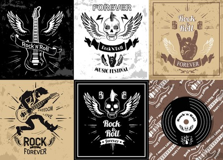 Rock and Roll Forever Logotype Sketches Set Vector