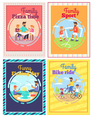 Family spending time together by eating pizza, doing sport, riding bikes or fishing vector colorful poster of four cards