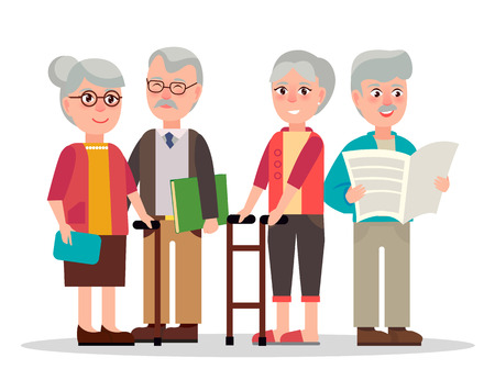 Ältere Paare mit grauen Haaren, Holzstöcken, Sehbrillen, Buch in Hardcover und Tageszeitung isolierte Vektorgrafik. Vektorgrafik