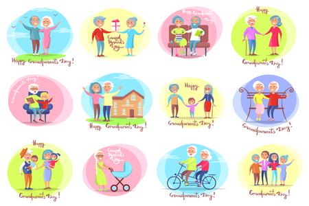 Día de los abuelos conjunto de carteles con actividades diarias de abuela y abuelo con su ilustración de vector de nietos Ilustración de vector