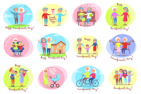 Grandparents day set of posters with daily activities of grandmother and grandfather with their grandchildren vector illustration