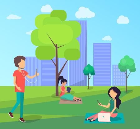 People Walking in Free internet Zone in City Park