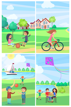 Children having fun in summer park vector poster of four images. Kids on teetering board, playing ball, girl riding bike, boy flying kite