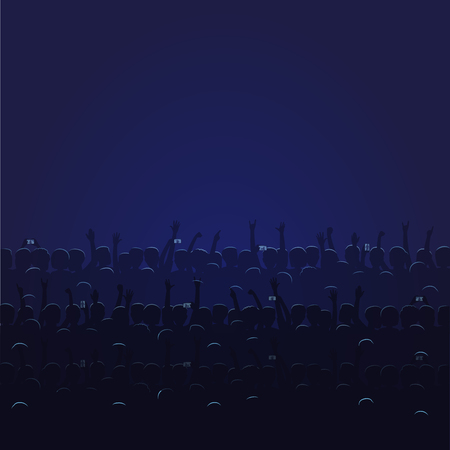 Big concert hall with blue lightning full of people that raise their hands and hold cellphones vector illustration. Audience waits for parformance.