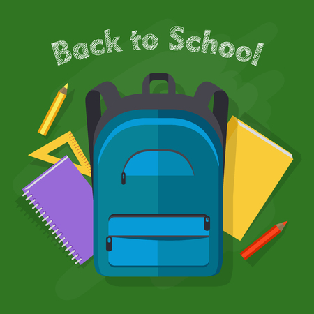 Back to school. Dark blue backpack with two front pockets. School objects behind. Yellow ruler, violet notebook on spiral, red pencil, yellow book. Illustration in cartoon style. Flat design. Vector Illustration