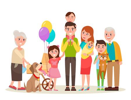 Junge Eltern, lustige Kinder, süßes Baby, Großmutter mit Kinderwagen, fröhlicher Großvater, Hund im Kragen und Katze auf Jungenhandvektorillustration.