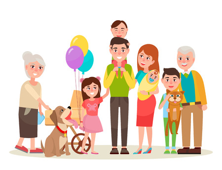 Young parents, funny kids, cute baby, grandmother with pram, cheerful grandfather, dog in collar and cat on boys hands vector illustration.