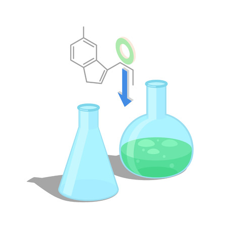Empty flask and with green chemical substance inside isolated vector illustration on white background. Formula of organic compound above equipment.