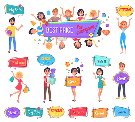 Big sale with best price for everyone promo banner. Happy characters hold full bags, boxes with presents or bright signboards vector illustrations.