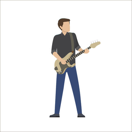 Man plays in musical group on bass guitar, vector illustration isolated on white. Musician with electric instrument perform in cartoon style Illustration