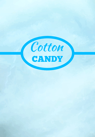 Cotton candy background in blue color with place for advertisement text vector illustration. Dessert for children called sugar glass or fairy floss