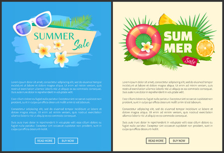 Summer summertime sale online web banner vector. Seasonal promotion lifebuoy and orange slice. Vacation proposition, pineapple fruit and sunglasses