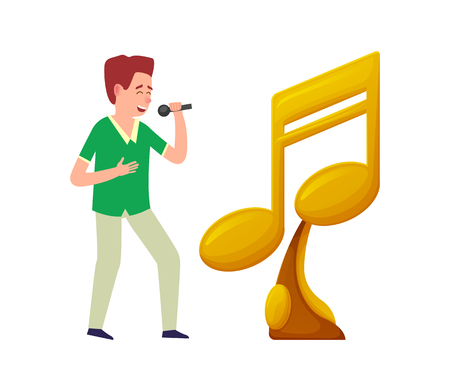 Singer with microphone, music notes golden trophy award isolated. Prize for best song, vector singing character and victory symbol, karaoke festival