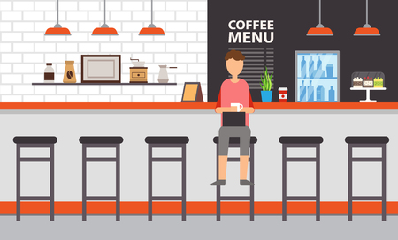 Coffee house or bar interior design, counter and stool vector. Man with coffee and laptop, grinder and turk, dessert cakes and menu, fridge and brick wall Illustration