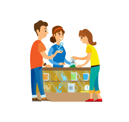 Man and woman shopping together vector, couple choosing gifts and presents. Shelf with goods, statues and watch clock time, camel and snowball toy