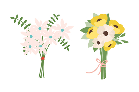 Spring bouquet tied by thread, flora with leaves, frondage composition of flowers. Vector leather fern foliage vector, springtime blooming romantic buds