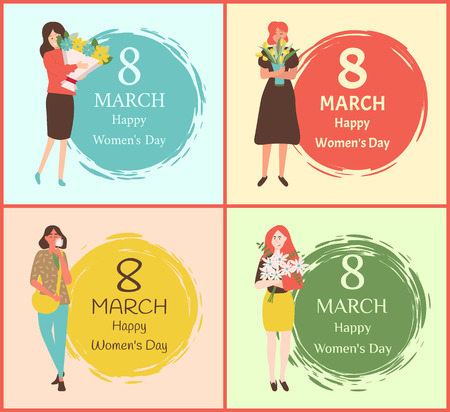 Greeting card with flower gifts vector caucasian females. Happy womens day International holiday girls with bouquets on color painted brush dots. 8 March Illustration