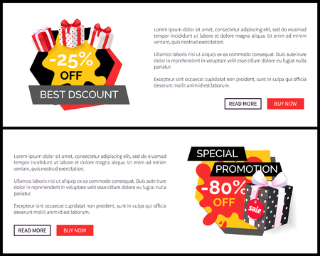 Best discount on new collection, total sale ever 80 percent off shopping tags with info, best offer vector sites. Shop landing pages, read more and buy now Stock Illustratie