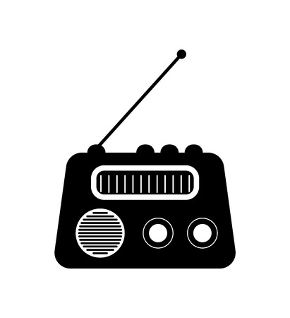 Radio icon, old-fashioned audio equipment with antenna, receiver waves. Electrical media symbol in black color, flat design of retro speaker vector