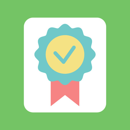 Check mark with ribbon, circle colorful tick icon, flat design element of voting. Badge of agreement on green, label of positive decision, success vector