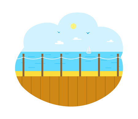 Summertime vacation vector, wooden pier with seascape and sunshine. Fine weather and clear sky, deep sea water surface, resort for tourists tropics Illustration