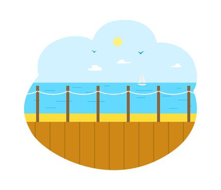Vector de vacaciones de verano, muelle de madera con paisaje marino y sol. Buen tiempo y cielo despejado, superficie de agua de mar profundo, centro turístico para turistas en los trópicos