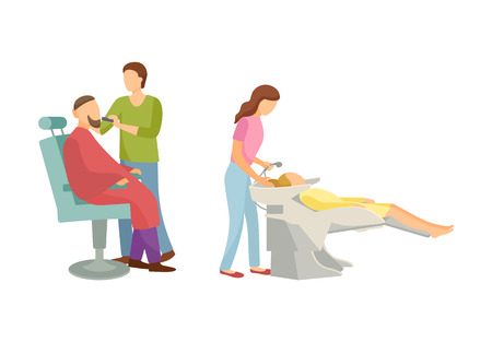 Spa salon, hair wash of client done by beauty expert. Barber shop and making cut of beard and mustaches isolated people, styling new haircut vector