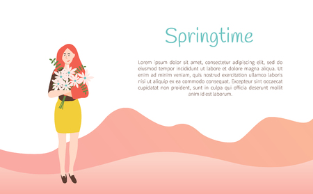 Springtime paper card decorated by standing woman with bouquet of daisies, girl holding flowers, portrait and full length view of female with flavor vector Stock Illustratie