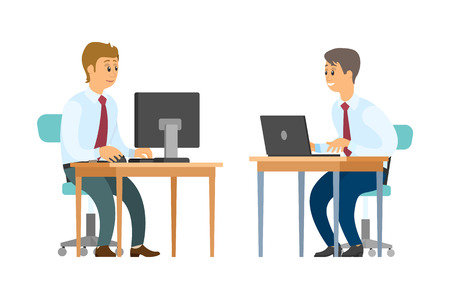 Business workers with computer and laptop at desks vector. Men in shirts with ties, clerks and employees, businessmen or entrepreneurs, financial report
