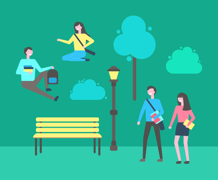 Students youth relaxing in campus university park vector. Man and woman with textbooks and notebooks passing lantern and wooden bench green bushes Ilustracja