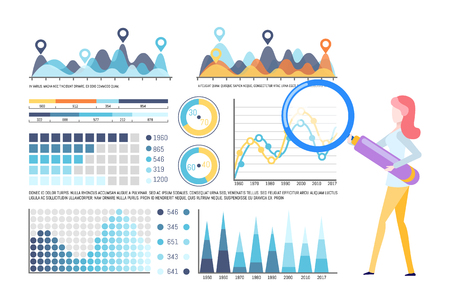 Infographics and infocharts vector, editable info representation. Woman working with tool, investigating results. Magnifying glass zooming instrument